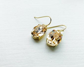 Peach gold champagne swarovski crystal gold plated brass earrings