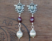 Silver Antique Cherubs with Rubies and Pearls Earrings