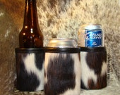 Men's Gift - Cowhide Beverage Holder - Can Coolie - Tri Color Cowhide Leather Can Soda or Beer Insulator - Unique Gift - Beverage Insulator