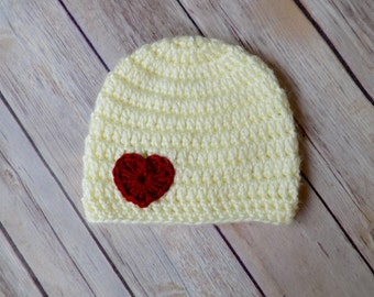 Baby Hat with Heart, Baby Beanie, Off White Baby Hat
