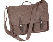 Monogrammed Brown Brushed Canvas Messenger Bags;Perfect for Graduation Gifts