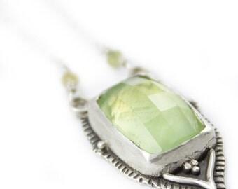 Lotus Petal Prehnite Necklace - pale green moroccan textured lotus mandalla pendant