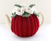 Hand-knitted Floral Tea Cosy in pure merino wool - Red - Size MEDIUM - fits 4-6 cup teapots - Ready to Ship