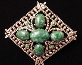 Vintage Lucite Jade Green Brooch / Green Brooch / Gold and Green Brooch