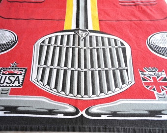 Vintage Bedspread - Red Race Car Spitfire British Motors - Twin Size Everwear