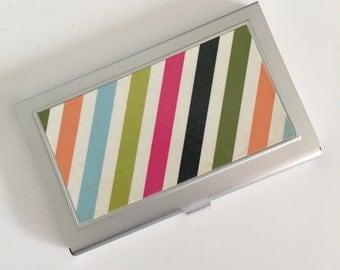 Business Card Holder - Bright & Bold Diagonal Stripes