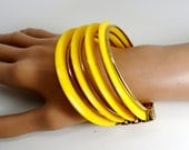 "Vintage Neon Yellow Lucite Happy Bright Sunshine 9 Multi Stacked Bangle Bracelet Cuff 60s Pop Art Mod Retro Art Deco 2 1/2"" Runway Statement"