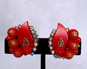 Vintage Valentine Red Thermoset Carnival AB Crystal Rhinestone Earrings Retro Art Deco Mid Century  Art Nouveau Runway Statement