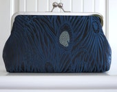 Midnight Peacock Brocade Clutch,Bridal Accessories,Bridesmaid Clutch,Bride Clutch,Wedding Clutch,peacock clutch