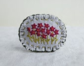 Raspberry Pink Daisy Embroidered Brooch - Textile Art Floral Brooch - Handmade Gift For Her - Under 30