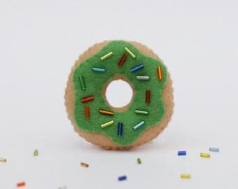 Green Donut Felt Pin, Food Accessory