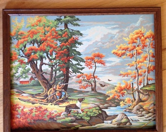Beautiful Vintage Paint by Numbers Autumn Duck Hunting Landscape Scene
