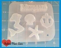 SALE New! Mermaid Pin Up Pallet and Mermaid Word  handmade Plastic Mold