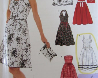 New Look 6457 Uncut Sewing Pattern Misses 6-16 Easy Sew Sundress Halter Dress