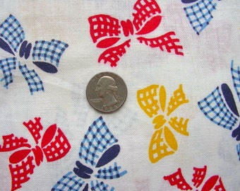 Vintage Novelty Feed sack Flour Sack  Cotton Fabric //  Red, Yellow and Blue BOWS on White // 39  x  48