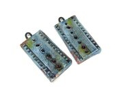 SALE Panel Bead Pair - Ceramic Craft Beads Artisan Clay Beads No. 26
