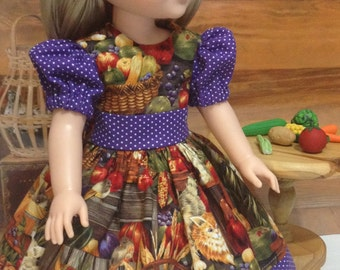 "Fall Wellie Wishers, H4H and LD  ""Fall in the Country"" dress, hairbow and lace slip fits WW, H4H, Little Darling"