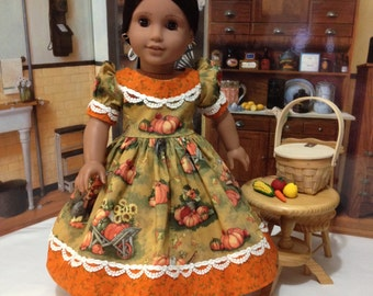 """Fall """"The Pumpkin Patch"""" dress and slip for 18 inch American Girl and other similar 18 inch dolls"""