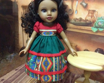 SALE TODAY  Consuelo's dress outfit for H4H, Hearts for Hearts or you Spanish Little Darling doll 13 and 14 inch doll dress and slip