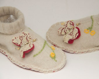 butterfly slippers wool upcycled sweater cream