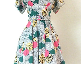 Vintage 1950s Abstract Cotton Fit And Flare Dress