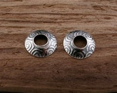 NEW: Swirl Print Big Hole Bead Cap in Sterling Silver