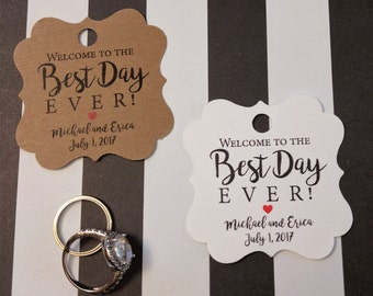 Best Day Ever, Favor Tags, Custom Gift Tags, Wedding Favor Tags, Labels, Tags, Rustic Wedding Favors, Welcome to the Best Day Ever RB502