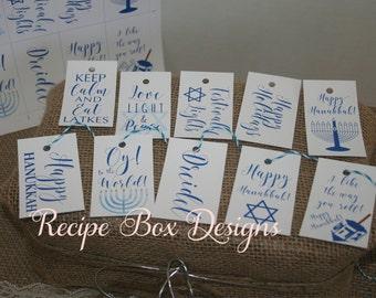 Hanukkah Gift Tags, Hanukkah Labels, Printable Tags, PDF, Print Yourself, Homemade Tags, Chanukkah, Dreidel Dreidel, Oy to the world
