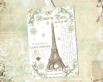 Christmas Gift Tags, French Christmas, Winter in Paris, French Tags, Gift Tags