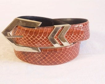 Vintage Brown Snakeskin Belt size large by Morgan Taylor