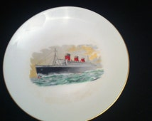 """dishes, Collectible Queen Mary, Queen Mary Cunard Lines 6 1/2"""" Plate, Vintage Queen Mary, Queen Mary Ocean Liner Bread Plate, 1930 Shipping"""