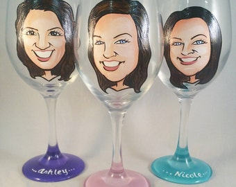 Maid of Honor Gift - Custom Hand Painted Wine Glass - Caricature - Cool Bridesmaid Gift - Hand Painted Bridesmaid Wine Glasses