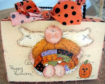Halloween Angel Decoupaged Block|Home Decor|Fall Decor