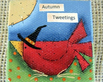Autumn Tweetings-Red Bird Mini-Painting|Halloween|Fall Mixed Media