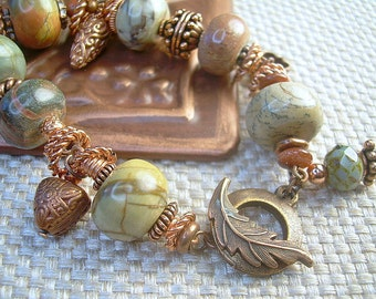 Jasper Bead And Copper Bracelet With Unique Copper Charms, Greens Multi Colors