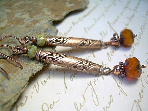 Copper and Picasso Bead Earrings With Classic Deco Vibes, Drop Dangle