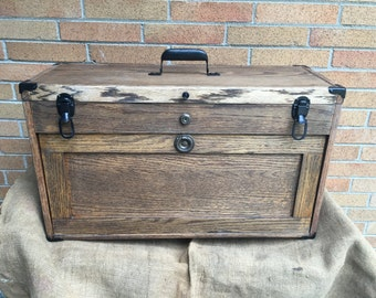 Vintage Large Oak Apothecary Chest Woodworking Tool Box