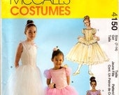 Children Girls Ballerina Uncut Halloween Theater Dance Costumes Sewing Pattern Layer Skirt Ruffles Panties Sizes 7-8 10-12 14 McCall's 4150