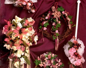 Bridal Creations Bouquet Learn How to Make Ribbon Silk Artificial Flower Fans Parasols Wreaths Centerpieces Craft Pattern Leaflet HOTP-118