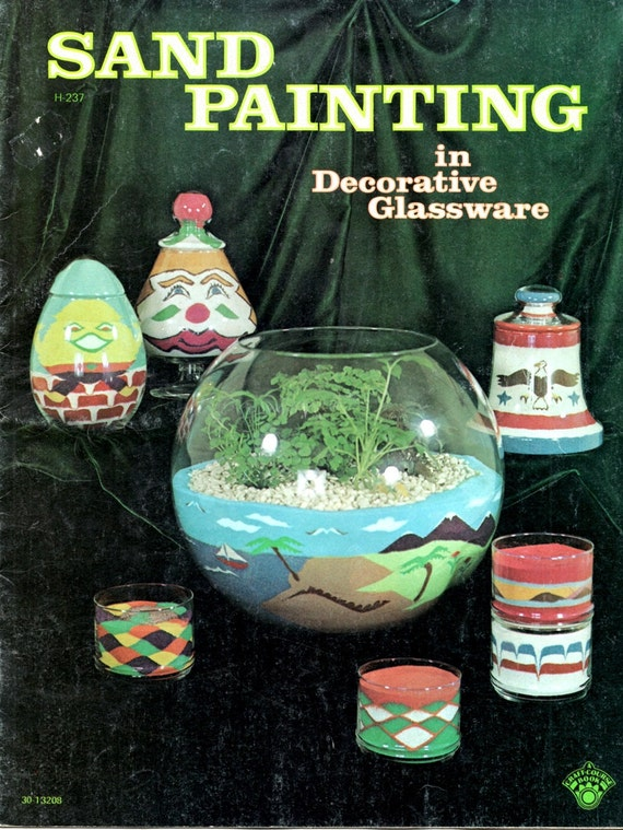 Sand Painting Decorative Glass Learn How Make Vintage 1970s Colored Clown Beach Eagle Humpty Dumpty Geometric Design Craft Pattern Leaflet