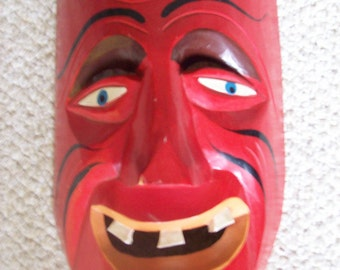 SALE Hand Carved Wooden Mexican Folk Art Mask Was 32.00