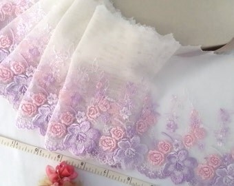 Lace trim, embroidered tulle trim, embroidered net trim, floral trim, ivory lace, 3 1/2 yards WT248