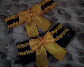 Black Satin Gold Satin Black Lace Wedding Bridal Garter Toss Set
