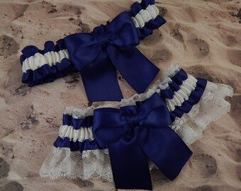 Navy Blue Satin Ivory Satin Ivory Lace Wedding Bridal Garter Toss Set