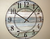 SILENT Rustic Wall Clock Stenciled Numbers, Reclaimed Wood Image Clock (NOT Real Wood), Beach House Decor, Unique Wall Decor - 2190
