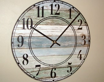 SILENT Rustic Wall Clock Stenciled Numbers, Reclaimed Wood Image Clock (NOT Real Wood), Beach House Decor, Unique Wall Decor - 2169