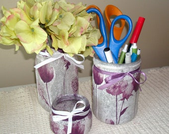 Purple Floral Desk Accessories, Glass Jar Pencil Holder, Makeup Organizer, Bathroom Decor, Decoupage Glass Jar, Dorm Decor - GJ001