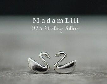 "925 Silver Mini Ear studs ""Swan Lake"""