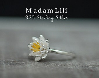 "925 Sterling Silver Ring ""LOTUS"""