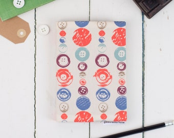 A6 Buttons Fabric Sketchbook, sewing journal, haberdashery notebook, coral, cream and blue on cotton, drawing and painting, cartridge paper